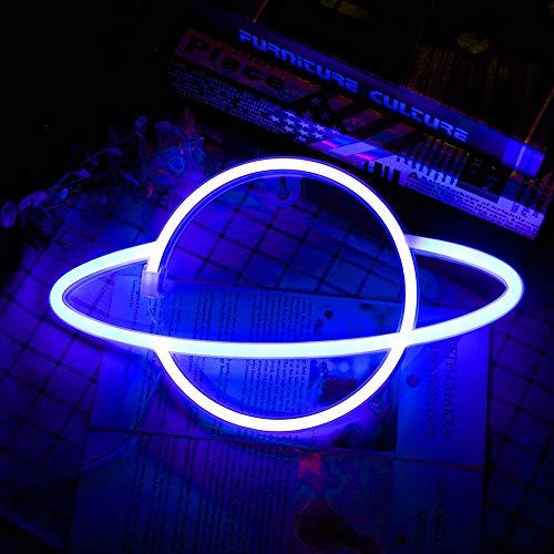 Phonleya LED Neonlichter - 4,5 V Wandschild Hängen Planet Modell Nachtlampe für Zimmer Wand Kinder Schlafzimmer Geburtstagsfeier Bar Strand Hochzeit Dekor