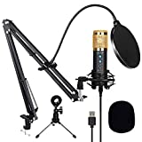 Podcast Microphone for Computer, USB MIC with Noise Reduction, Mute Key, Mic Gain/Echo Knob, PC Microphone Kit with Adjustable Metal Arm Stand, Great for Gaming, LiveStreaming, Recording, Golden