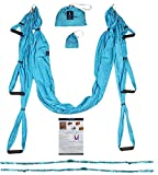 Blue Crescent Yoga-Aerial Yoga Swing, Trapeze Hammock for Yoga with Mounting Accessories, Aerial Silks, Inversion Exercise Equipment, Home Gym Fitness Equipment Turquoise