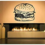 Pared de vinilo hamburguesa comida hamburguesa ejercicio fitness entrenamiento logo