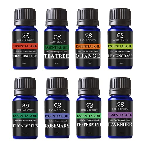 Radha Beauty Aromatherapy Top 8 Essential Oils 100% Pure &Amp; Therapeutic Grade - Basic Sampler Gift Set &Amp; Kit (Lavender, Tea Tree, Eucalyptus, Lemongrass, Orange, Peppermint, Frankincense And Rosemary)