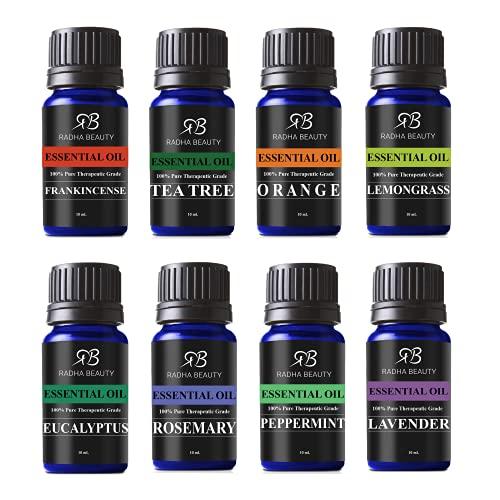 Radha Beauty Aromatherapy Top 8 Essential Oils 100% Pure & Therapeutic Grade - Sampler Gift Set & Kit (Lavender, Tea Tree, Eucalyptus, Lemongrass, Orange, Peppermint, Frankincense and Rosemary)