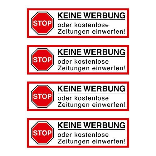 Geen reclame. Stickers voor de brievenbussen, 4 stuks, 80 x 26 mm, Stop alstublieft geen reclame en gratis kranten, voor de brievenbus