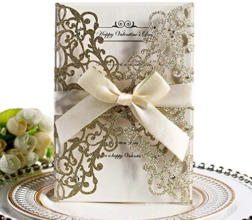 Wedding Invitation Cards 10PCS Hollow Floral Design Invites Card with Ribbon Best for Bridal product image