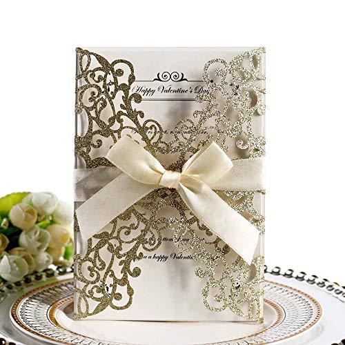 Hochzeitseinladungskarten,10 Stück,hohles Blumen-Design, Einladungskarten mit Band für Brautpartys,Verlobungsfeiern,inklusive 10 Stück [Abdeckungen+Blanko-Innenkarte+Schleifen] Glitzer gold farben