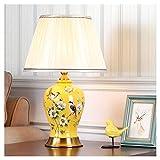 Lámpara LED de mesa, lámpara de mesa, lámpara de mesa, lámpara de mesa, lámpara de mesa, mesita de noche, estilo chino, de cerámica, color amarillo