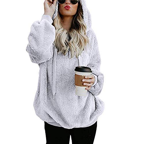 MOIKA Damen Kapuzenpullover Langarm Sale Mode Große Größe Warmer Flauschiger Winter-oberster Hoodie-Sweatshirt mit Kapuze Pullover(Weiß,5XL)