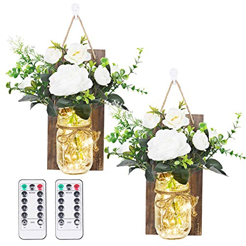 Anpro Mason Jar Flower Lights - Wall Lamp LED String Light with 2 Bunch of Artificial Flowers,2 Remote Control, Fairy Lamps for Living Room and Farmhouse Wall Decorations