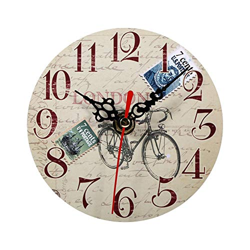 Fdit 7 Tipos de Reloj de Pared de Madera Antiguo Reloj de Pared Antiguo Creativo Relojes Redondos de Madera de Estilo Vintage Decoración de Oficina en casa(#4)
