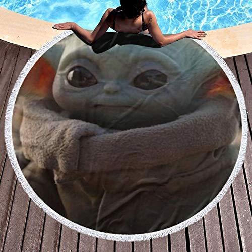 Star-Wars Yo-Da - Toalla de playa para bebé (microfibra, para hombres y mujeres, secado rápido, cómoda, para playa, piscina, spa, natación, senderismo y uso en el hogar, diámetro redondo de 132 cm)