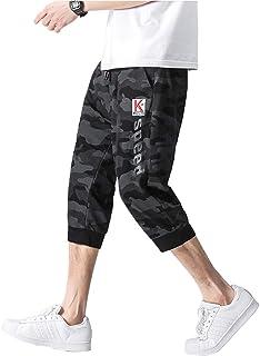 foxseon パンツ ハーフパンツ ショートパンツ 七分丈 メンズ 調整紐 快適 ゆったり カジュアル スポーツ トレーニング 作業 夏
