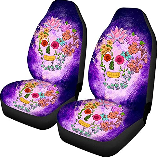 Kalynvi Fundas de asiento de coche con diseño de calavera floral para vehículos y mascotas, funda de cojín universal para automóviles SUV furgoneta camión 2 piezas accesorios