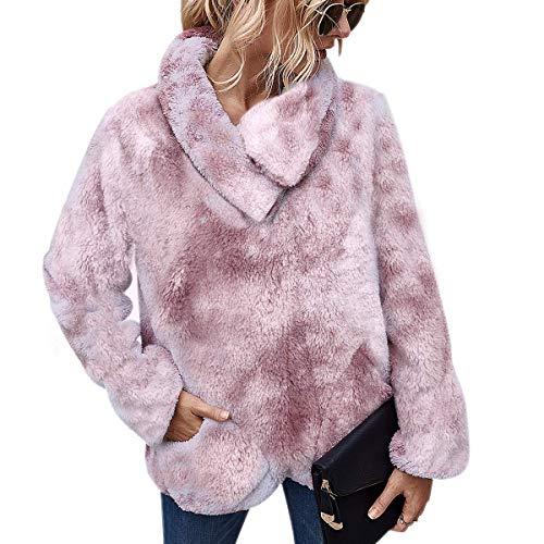 LIVACASA Bluza damska zimowa, ciepła bluza z kapturem, miękka dla dziewcząt, oversize, polar, sweter, flauszowy sweter zimowy, sweter z długim rękawem, z 2 kieszeniami w 12 kolorach