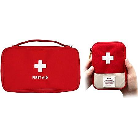 gdy 2個セットお薬収納ポーチ 携帯用救急箱 応急処置バッグ 軽量家庭学校旅行出張 アウトドア メディカルポーチ 緊急処置セット 救急バッグ 手提げ 携帯便利(レッド S+M)