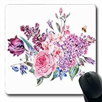 マウスパッド長方形パープルローズヴィンテージガーデン水彩春花束ピンク自然花赤花ボーダー日付夏滑り止めラバーマウスパッドオフィスコンピューターラップトップゲームマット