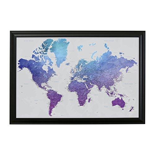 Vibrant Violet Watercolor World Travel Map with Black Frame