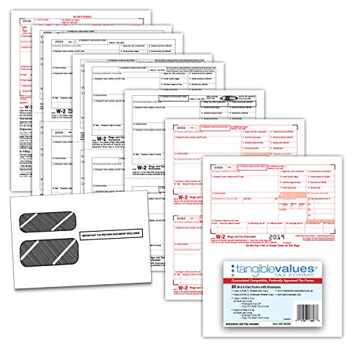 W-2 Tax Forms 2019 - Tangible Values 6-Part Laser Tax Form Kit with Envelopes - Accounting & QuickBooks Software Compatible, 25 Pack