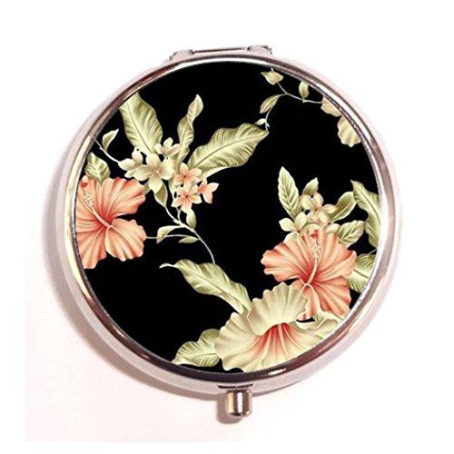 Tumblr Vintage Floral Rose Fashion Custom Round Silver Pill Box Pocket 2.1 inches Medicine Tablet Holder Organizer Case for Purse