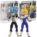2 Piezas SHF Dragon Ball Super Super Saiyan Dios Pelo Azul Vegeta Articulación Móvil Majin Vegeta PV...