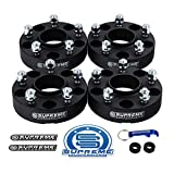 Supreme Suspensions - (4pc) 2007-2016 Jeep Wrangler JK 2' Hub Centric Wheel Spacers 5x5' (5x127mm) with Lip + 1/2'x20 Studs [Black]