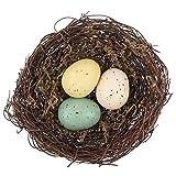 EXCEART 鳥の巣 偽卵 人工巣 手作り 植木 撮影 3つの装飾卵