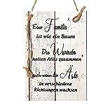 Wand Deko Holzschild mit Spruch im Shabby Chic Vintage Stil (29x20x0,5cm) - Eine Familie ist wie EIN...