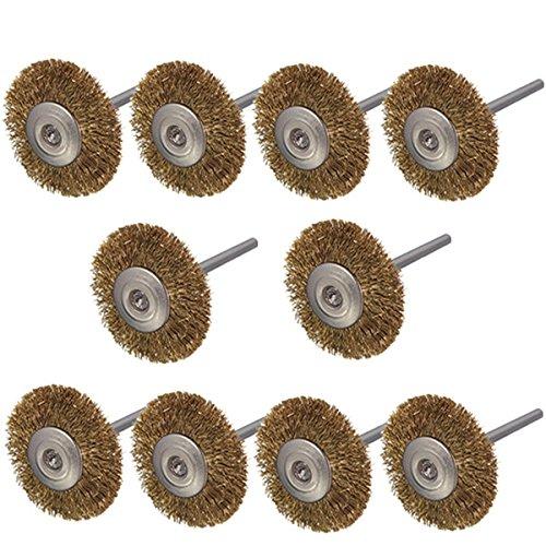 KUNSE 10 stks 3mm Schacht Messing Wiel Borstels voor Dremel Rotary Tool