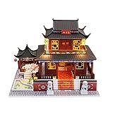 Piezas mecánicas Kit de casa de bricolaje en miniatura Casa de muñecas creativa Juguete de cabaña de bricolaje Modelo arquitectónico de estilo chino con luces Juguete de madera ensamblado para niño