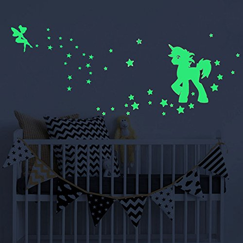 akeke Glow in The Dark Unicorn Stars Wall Decal, Unicorn Floral Decal Fairytale Fairy Stickers Wall Decal Girls Bedroom Home Decor