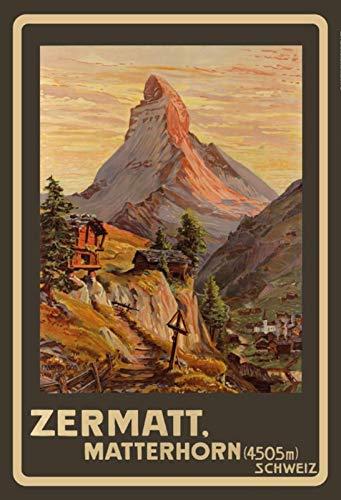 Schatzmix Tin Sign 20x30 cm Zermat Matterhorn Zwitserland Helvetia Swiss vakantie bergen Alpen reclame affiche bar kroeg hau metalen bord, blik