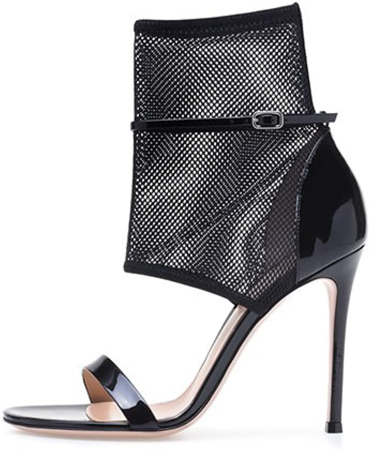 Women's Black Super High Heel Sandals Sexy Mesh Ankle Boots Hollow Ankle Strap(Heel Height  11-13cm)