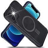 """Migeec - Custodia in Finta Pelle compatibile con iPhone 12 mini da 5,4"""", con ricarica magnetica, rinforzata, antiurto, sottile, colore: Nero"""