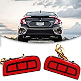Xotic Tech JDM Add-on LED Rear Bumper Reflector Lights for Honda Civic Sedan/Coupe 2016-2019, Function as Tail Brake Light Rear Fog Lamp