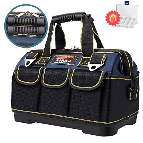 AIRAJ18 Zoll wasserdichte Werkzeugtasche,Weithals Werkzeugtasche große Aufbewahrungstasche,verstellbarer Schultergurt, zur Aufbewahrung von Elektro- und Handwerkzeugen,Elektriker Werkzeugtasche