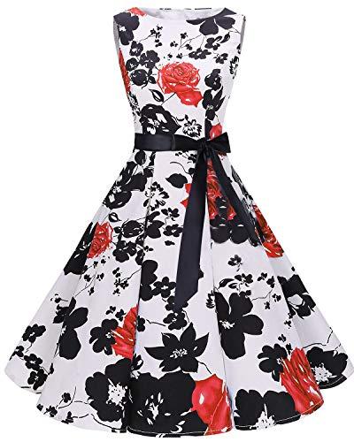 bbonlinedress Bbonlinedress 50s Retro Schwingen Vintage Rockabilly Kleid Cocktail Faltenrock RedFlower XS