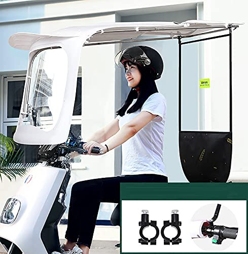 JXH Motocicleta Electric Car Windshield Cover Twing Sunshade Electric Battery Car Sops, Paraguas Reforzado con Protector Solar,Blanco