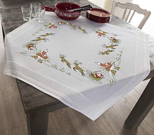 Kamaca Stickpackung WEIHNACHTSSPAß Tischdecke 80x80 cm Kreuzstich vorgezeichnet Baumwolle komplettes Stickset mit Stickvorlage Weihnachten