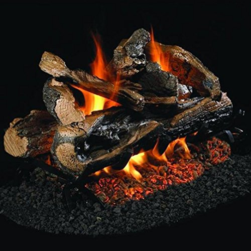 Find Discount Peterson Real Fyre 18-Inch Rugged Split Oak See-Thru Gas Log Set with Vented Natural G...