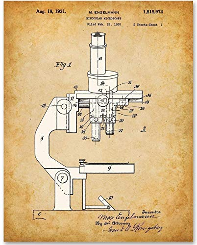Compound Microscope - 11x14 Unframed Patent Print - Makes a Great Gift Under $15 for Scientists and Doctors