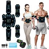 Moonssy Elettrostimolatore per Addominali,Elettrostimolatore Muscolare,EMS Stimolatore,USB Addominale Tonificante Cintura, LCD Display,Addome/Braccio/Gamba per Uomo o Donna 6 modalità 9 intensità