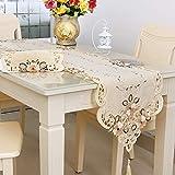 Rehomy Camino de mesa de 40 x 249 cm, lavable, decoración de mesa de té, flores bordadas vintage para el hogar, fiesta, banquete y otros eventos.