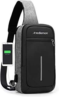 Redlemon Mochila Cruzada Impermeable Mini con Puerto USB para Power Bank (no incluida), Espacio para Tablet, Ideal para De...