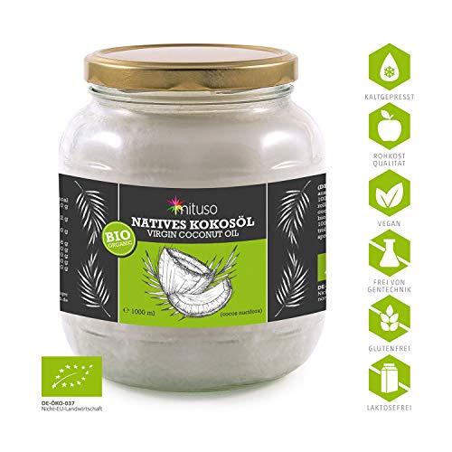 mituso Bio Kokosöl, nativ, DE-ÖKO-037, 1er Pack (1 x 1000 ml) im praktischen Glas. - 4