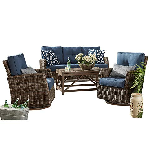Agio All-Weather Wicker 4pc Outdoor Patio Furniture Seating Set w/Sunbrella Fabrics