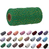 1 Roll 2mm 109 Yard Colourful Cotton Cord Bakers Twine DIY Crafts Gift Wrapping Christmas Wedding Home Decor String Rope (Green+Gold)