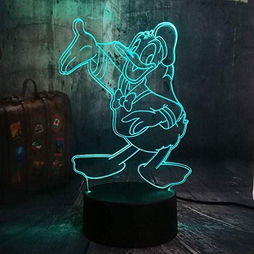 3D illusie Light LED nachtlampje voor kinderen Donald Duck tafellamp 7 kleuren touch afstandsbediening Home slaapkamer USB nachtkastje kinderen Kerstmis verjaardagscadeau