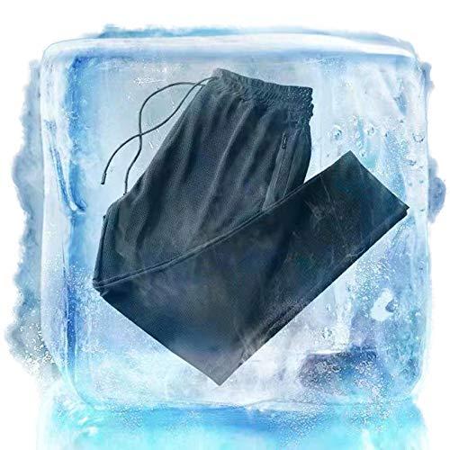 KFGJ Eisseide Hose,Herren-Jogginghose aus Eisseide, schnell trocknend, Lange Hose, lockere Passform, elastische Taille, Jogging, Sporthose mit Taschen L