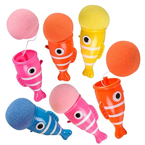 ArtCreativity Clownfish Launchers, Pack of 12, 6 Inch Foam Ball Launchers in Assorted Colors, Squeeze & Pop Game, Birthday Party Favors for Kids, Goodie bag Fillers, Carnival Prize