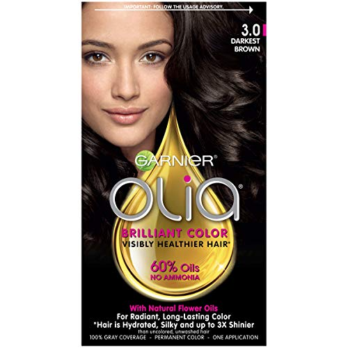 Garnier Olia Ammonia Free Permanent Hair Color, 100 Percent Gray Coverage (Packaging May Vary), 3.0 Darkest Brown Hair Dye, Pack of 1