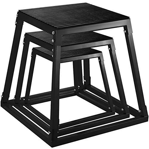 VEVOR Plyometric Box Pliométrico Caja Pliométrico Plataforma Caja de Salto Caja Pliometrica Salto Cajón Pliometrico Set de 3 Piezas 12 \'\'/18 \'\'/24 \'\' Negro
